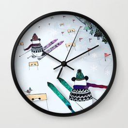 Pandas gone skiing Wall Clock