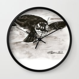 Baby Turtle Hatchling (Charcoal) Wall Clock