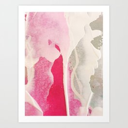 Pink + white paint frills Art Print