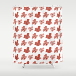 Seamless pattern with red poppies on a white background. Shower Curtain