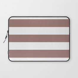 Burnished brown - solid color - white stripes pattern Laptop Sleeve