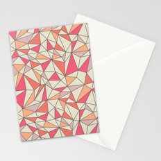 triangles color block in coral pink and orange Stationery Cards