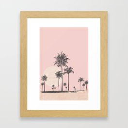Tropical Sunset In Peach Coral Pastel Colors Framed Art Print