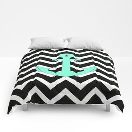 Tiffany Turquoise Anchor Black Zigzag Pattern Comforters