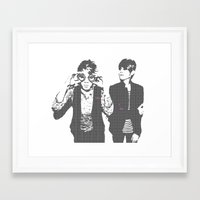 tegan and sara Framed Art Prints featuring Tegan & Tegan & Sara & Sara - Gray by c.beanan
