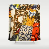 afro Shower Curtains featuring AFRO PATCHWORK by Riot Clothing