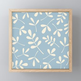 Cream on Blue Assorted Leaf Silhouettes Framed Mini Art Print