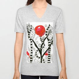 Pop of Color, Red Balloon Zendoodle in Fanciful Forest Unisex V-Neck