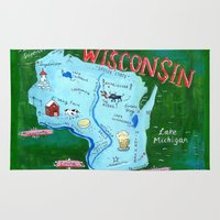 wisconsin Area & Throw Rugs featuring WISCONSIN by Christiane Engel