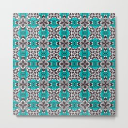 Turquoise Grey and White Repeat Tile Pattern Metal Print