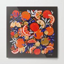 Fresh Citrus Mesh – Charcoal Metal Print