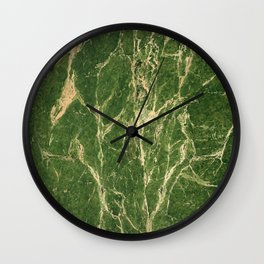 Green abstract grunge marble Wall Clock