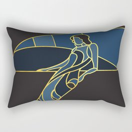 Art Deco Woman in Navy Blue #1 Rectangular Pillow