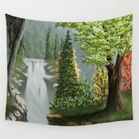 waterfall Wall Tapestries featuring Waterfall by Turul
