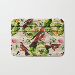 Rustic white wood tropical red green watercolor floral red birds Bath Mat