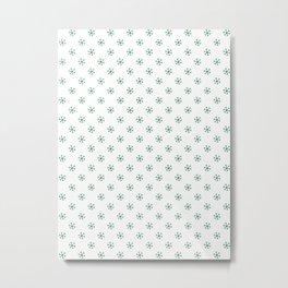 Cadmium Green on White Snowflakes Metal Print