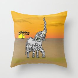 Trumpeting Elephant Knot Throw Pillow