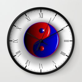 Red And Blue Yin and Yang Wall Clock