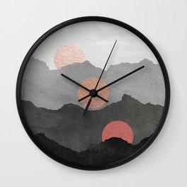 Mountains and the Moon - Black - Silver - Copper - Gold - Rose Gold Wall Clock