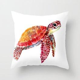 Baby Turtle decor, nursery art decor children room orange red Throw Pillow