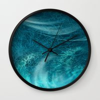 aqua Wall Clocks featuring aqua by haroulita