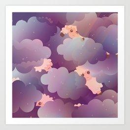Heavenly Baby Sheep II - Wine Purple / Plum Color, Star Night Sky Background Art Print