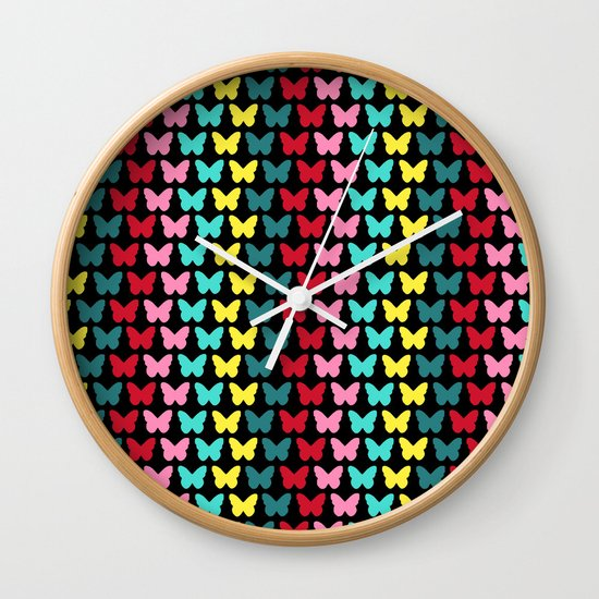 Happy Butterflies on Black Wall Clock