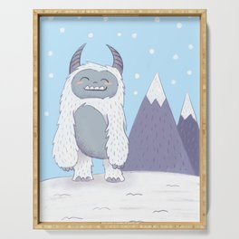 Yeti in the Mountains - Blue Serving Tray