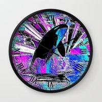 orca Wall Clocks featuring Orca by JT Digital Art