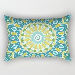 Beach Blue and Lime Green Mandala Rectangular Pillow