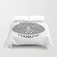vikings Duvet Covers featuring Yggdrasil, Vikings by ZsaMo Design