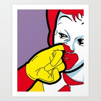 secret life of heroes Art Prints featuring The secret life of heroes - Fast Food by Greg Guillemin