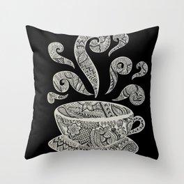 But first, Coffee - tea coffee lover zentangle Throw Pillow