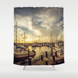 Summer Harbor Sunset Shower Curtain