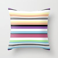 striped Throw Pillows featuring Striped by Katy Martin