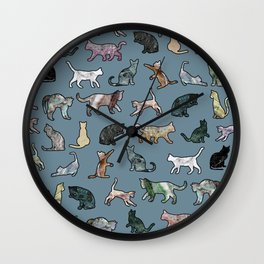 Cats Shapes Marble - Teal Steel Blue Wall Clock