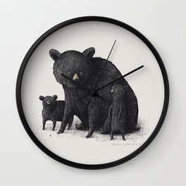 Black Bear Family Wall Clock