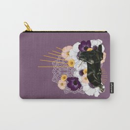 Black Unicorn on Plum and Gold Carry-All Pouch