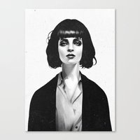 white Canvas Prints featuring Mrs Mia Wallace by Ruben Ireland