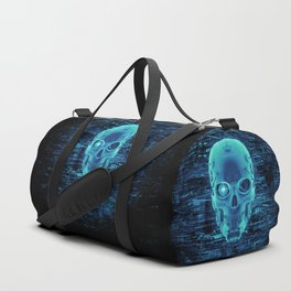 Gamer Skull BLUE TECH / 3D render of cyborg head Duffle Bag