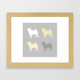 Grey and Yellow Pugs Pattern Framed Art Print