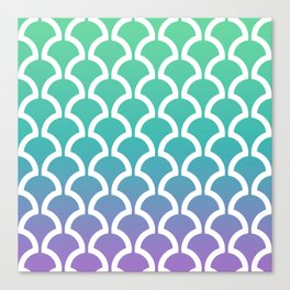 Classic Fan or Scallop Pattern 466 Green Blue and Lavender Canvas Print