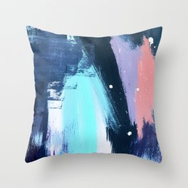 Playful [3]: a bold abstract piece in vibrant blues, pink, purple and white Throw Pillow