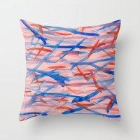 swim Throw Pillows featuring Swim by Sandra Arduini