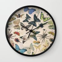 insect Wall Clocks featuring Insect Jungle by Galvanise The Dog
