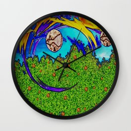 Rainbows and after the rain,it comes fishes over the tree tops. Wall Clock