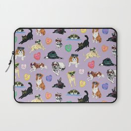 Valentine's Day Candy Hearts Puppy Love - Purple Laptop Sleeve