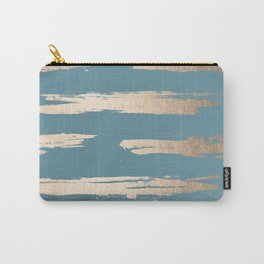 Abstract Painted Stripes Gold Tropical Ocean Blue Carry-All Pouch