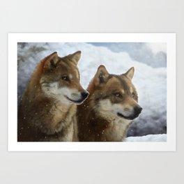 Twin Wolves Art Print