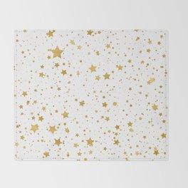 Golden Stars2 -Pure White- Throw Blanket